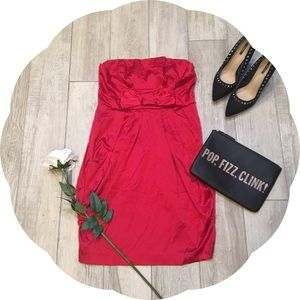 Dresses & Skirts - Red Strapless Cocktail Dress with Bow detail